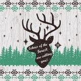 与鹿头的传染媒介手拉的海报 库存图片