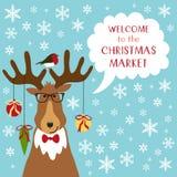 与鹿滑稽的漫画人物的逗人喜爱的减速火箭的横幅与讲话的起泡并且引述欢迎对圣诞节市场 库存例证