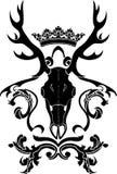 与鹿头骨的纹章学标志 免版税库存照片