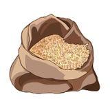 与麦子五谷的被打开的袋子,半满 健康的饮食 五谷存贮  向量 免版税图库摄影