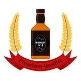 与麦子花圈的优质质量威士忌酒 威士忌酒瓶,平 免版税库存照片