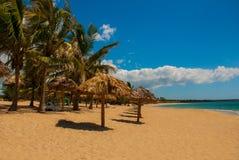 与黄沙,蓝色加勒比海、可可椰子和伞的热带风景 西恩富戈斯,古巴,兰乔月/月球海滩 免版税图库摄影