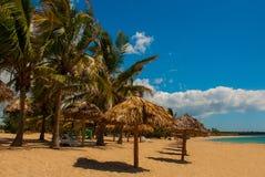 与黄沙,蓝色加勒比海、可可椰子和伞的热带风景 西恩富戈斯,古巴,兰乔月/月球海滩 库存图片