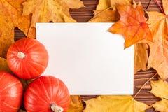 与黄色叶子,在一个木织地不很细背景的橙色南瓜的秋天水平的横幅 免版税图库摄影