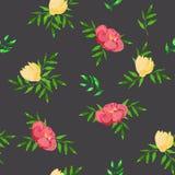 与黄色和桃红色花的无缝的样式 向量例证