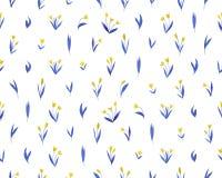 与黄色和蓝色郁金香的无缝的样式开花 免版税库存图片