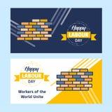 与黄色和蓝色题材传染媒介的愉快的劳动节设计与h 皇族释放例证