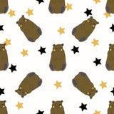 与黄色和黑星的滑稽的熊 皇族释放例证