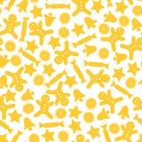 与黄色对象的圣诞节无缝的样式 设计要素新年度 免版税图库摄影