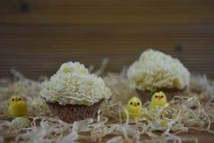 与黄色小鸡和鸡蛋的木背景秸杆和装饰的土气复活节时间杯形蛋糕 库存图片