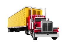 与黄色拖车3d的卡车红色在白色背景不回报s 库存例证