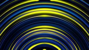 与黄色的动画和移动和淡光在有霓虹灯的隧道的蓝色圈子的抽象背景 五颜六色 皇族释放例证