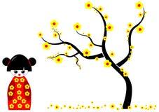 与黄色的Kokeshi玩偶开花结构树 库存例证