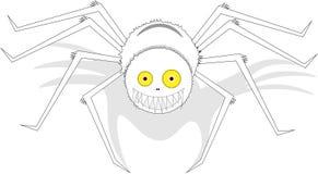 与黄色眼睛的大白色微笑的蜘蛛,在被隔绝的背景 皇族释放例证