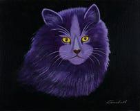 与黄色眼睛的猫反对黑背景 库存例证