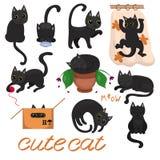 与黄色眼睛的黑小猫在各种各样的姿势图象 库存例证