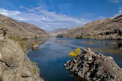 与黄色秋天结构树的地狱峡谷 免版税图库摄影