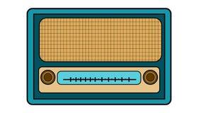 与黄色老减速火箭的古色古香的葡萄酒长方形第一台行家收音机的蓝色与黑人冲程,有圆的风的音乐无线电接收机 皇族释放例证