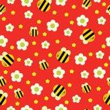 与黄色花和星无缝的样式的滑稽的蜂 皇族释放例证