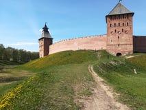 与黄色花的中世纪城堡 图库摄影