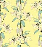 与黄色花的无缝的模式 免版税库存图片