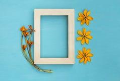 与黄色花的木制框架 免版税库存照片