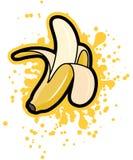 与黄色飞溅,传染媒介例证的简单的质朴的被剥皮的香蕉 皇族释放例证