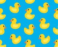 与黄色鸭子的无缝的样式 向量例证