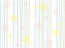 与黄色,蓝色和棕色线和黄色和桃红色小点的纹理在白色背景 免版税库存图片