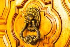 与黄铜敲门人以狮子的形式,美丽的entra的门 免版税图库摄影