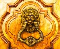 与黄铜敲门人以狮子的形式,美丽的entra的门 库存图片