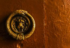 与黄铜敲门人以狮子的形式,美丽的entra的门 免版税库存照片