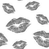 与黑剪影嘴唇的无缝的样式 向量例证