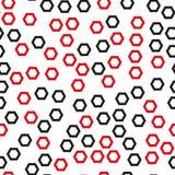 与黑和红色六角形的无缝的样式 免版税图库摄影
