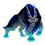 与黑和蓝色鬃毛的愤怒的狼人 皇族释放例证