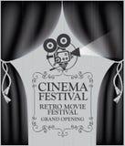 与黑帷幕和照相机的戏院海报 免版税库存图片