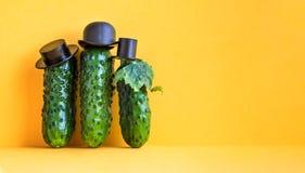 与黑帽会议的三个黄瓜古板的字符 黄色背景,创造性的设计食物海报 复制文本 库存照片
