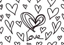 与黑心脏,爱背景,心形传染媒介,情人节,纹理,布料,婚礼墙纸,纸的无缝的样式 向量例证