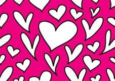 与黑心脏,爱背景,心形传染媒介,情人节,纹理,布料,婚礼,纸的无缝的样式 向量例证