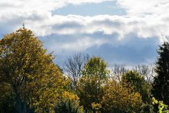 与黑暗的云彩的秋季 免版税库存照片
