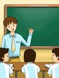 与黑板的教师教的孩子 库存图片