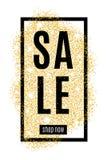 与黑框架和文本的金垂直的横幅金子待售闪烁 在白色背景隔绝的金黄斑点 背景f 免版税图库摄影