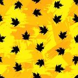 与黑槭树的无缝的样式在五颜六色的刷子p离开 库存照片