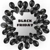 与黑气球和框架的黑星期五横幅 免版税库存照片