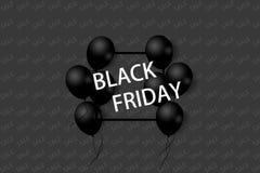 与黑气球的黑星期五销售海报在与方形的框架的灰色背景 例证 库存例证