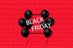 与黑气球的黑星期五销售海报在与方形的框架的红色背景 例证 库存例证