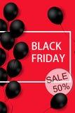 与黑气球的黑星期五销售海报在与方形的框架的红色背景 例证 向量例证