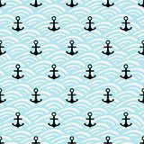 与黑船锚和蓝色的无缝的样式挥动背景 库存照片