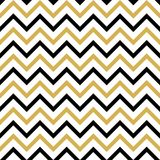 与黑色和金子之字形的无缝的样式 向量例证