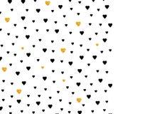 与黑色和金心脏的背景 卡片的,横幅模板 向量例证